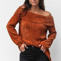 Who To Trust Camel Off Shoulder Chenille Sweater