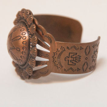 Vtg Stamped Copper Navajo Cuff Bracelet / Rare Vintage Native American Thunderbird Southwestern Old Pawn Jewelry | Bohemian Boho Chic Gypsy