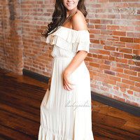 Boho Chic Off Shoulder Dress (cream)