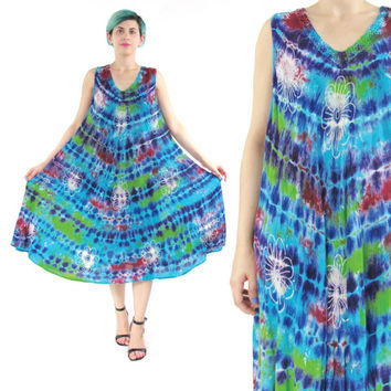 Vintage Tie Dye Dress Hippie Boho Tent Dress Summer Beach Dress Batik Floral Sun Dress Sleeveless Embroidered Caftan Festival Dress (L/XL)