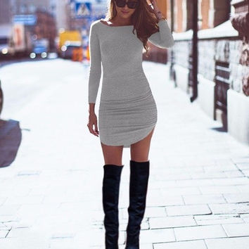 HOT Sexy Women's Gray Bodycon Party Side Slit Tunic Dress