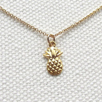 Pineapple Jewelry Tiny Gold Pineapple Necklace 14k Gold Filled Chain Petite Minimal Fruit Jewelry Gift Ideas