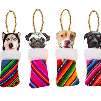 Set of 4 Tribal Peruvian Doggies, Christmas Tree Ornaments. Peruvian fabric Ornaments, Ethnic Pom pom Christmas Gifts, Dogs in boots