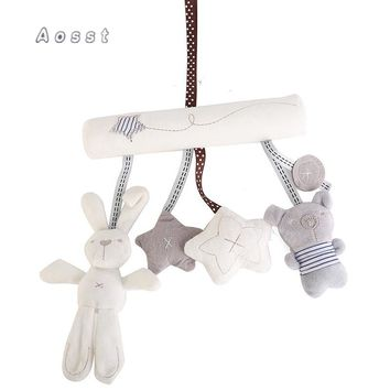 AOSST The rabbit baby carriages to hang around the bed safety seat's accessories Car hang plush toys