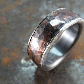 forged silver copper ring wide rustic ring mens ring copper and silver ring rustic wedding ring steampunk ring