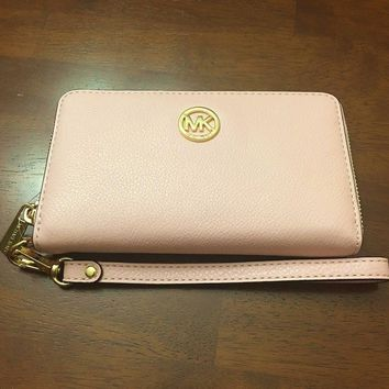 MICHAEL KORS FULTON PEBBLED PINK BLOSSOM LEATHER COIN,PHONE CASE,WRISTLET,WALLET