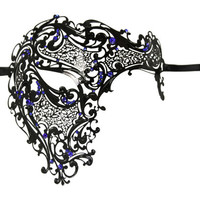 Men's Black Metal Venetian Laser Cut Phantom Of The Opera Masquerade Mask, Blue Rhinestones