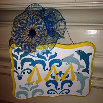 Tri Delta Greek Sorority Decorative Door/Wall Hanging Sign