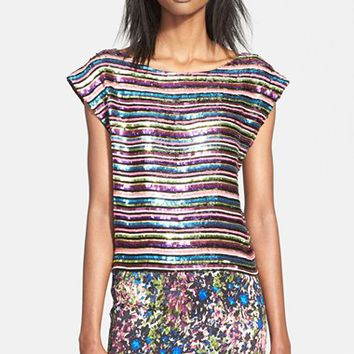 Women's Tracy Reese Sequin Embellished Cap Sleeve Top,