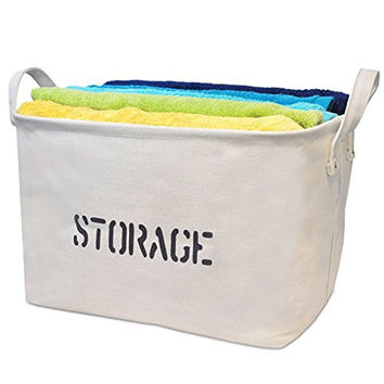 Storage Basket made from Eco-Friendly Cotton/Canvas. Storage Bin is perfect for organizing the Nursery, Beauty Products, Office Supplies, Gift Baskets