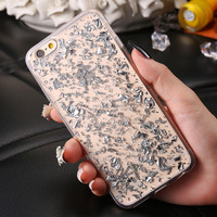 Fashion Phone Cases For iPhone 7 6 6s Plus 5 s SE Cover Bling Gold Soft TPU Clear Cover For iPhone7 6 S Plus 5s Case Coque Funda