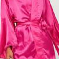 Missguided - Pink Picot Trim Robe