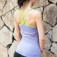 Fashionable Summer Women Backless Criss Cross back Sport Suit Fitness Sportswear Stretch Exercise Yoga Top Top Women Tank Vest b263