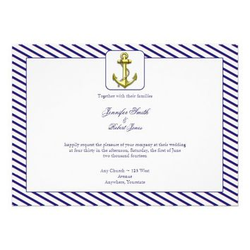 Nautical Anchor on Blue Stripe Wedding Invitation from Zazzle.com