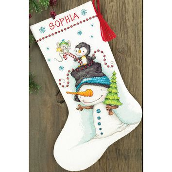 """Jolly Trio Stocking (14 Count) Dimensions Counted Cross Stitch Kit 16"""" Long"""