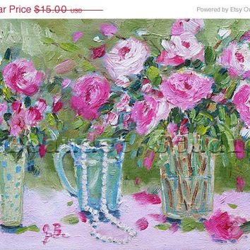 ON SALE Original Print of oil painting Floral Peonies  shabby chic Pink and Green impressionist