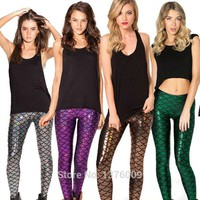 Mermaid Scale Spandex Leggings Rock Star Halloween Costume Superstar