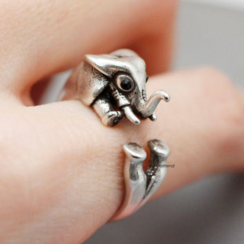 Adjustable Retro Elephant Rings /Elephant Retro Burnished Ring / Animal Ring - available color in 2color (Antique silver,Antique gold)