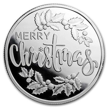 1/2 oz Silver Magnet Round - Merry Christmas (w/ Keepsake Card)