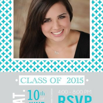 Photo Quatrefoil Graduation Announcements