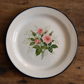 Vintage Enamelware Plate - Rose Bouquet with Black Trim