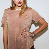 Pink Champagne Metallic Top