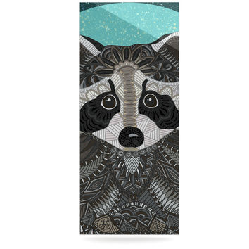 "Art Love Passion ""Racoon in Grass"" Gray Teal Luxe Rectangle Panel"