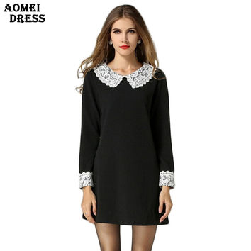 2017 Spring Plus size Black Lace Office Dress Vintage Brief Shift Long Sleeve Dresses Tunics 5XL Peplum Women Elegant Clothes