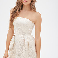 FOREVER 21 Metallic Brocade Strapless Dress Champagne