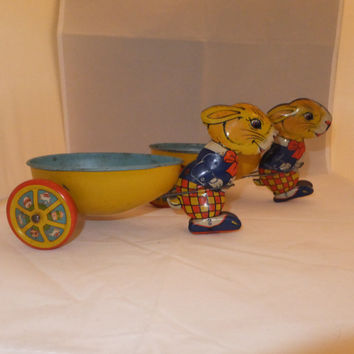 Tin Toy Bunny with Egg Cart -1930s, Jo Chein & Co., Rabbit Pulling Egg, Set of 2, Easter Collectible, Peter Rabbit, Made in USA