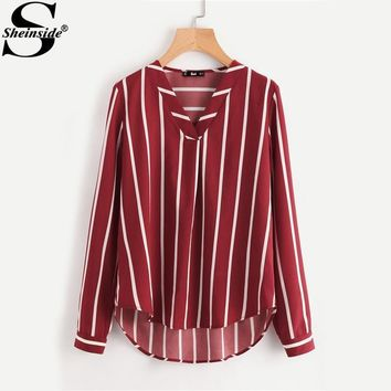 Sheinside Red Striped Work Shirt V-Placket Curved High Low Office Blouse Women Long Sleeve Casual Tops Summer Ladies Blouse