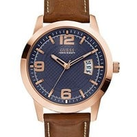 Brown and Rose Gold-Tone Classic Chronograph Sport Watch at Guess