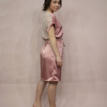 Bridesmaids Robe, Rose Lace Robe, Satin Bridal Robe, Pink Satin Robe, Floral Lace Robe