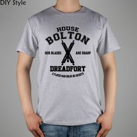 game of thrones house bolton dreadfort OUR BLADES ARE SHARP  T-shirt Top Lycra Cotton Men T shirt New
