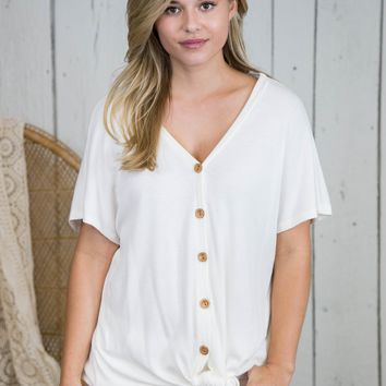 Taylor Button Up Top, Off White