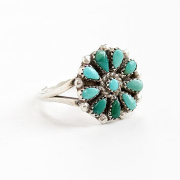 Vintage Sterling Silver Turquoise Blue Stone Flower Ring - Size 6 Retro Southwestern Native American Style Floral Jewelry
