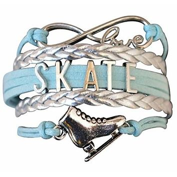 Girls Figure Skating Infinity Bracelet- Blue