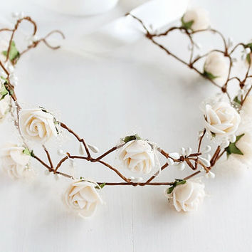 Vanilla Cream Rose Crown, Fairy Crown, Flower Girl Wreath, Light Cream Bridal Halo, Woodland Halo, Boho Rose Circlet, Floral Bridal Crown