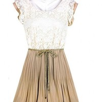 Retro Fashion New Womens Lace Sleeveless Pleated Skirts Vest Mini Belt Dress 888