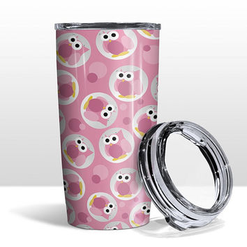 Pink Owl Tumbler Cup - Funny Cute Pink Owl Pattern - 20oz Insulated with Clear Lid - Hot or Cold Beverages - Made to Order