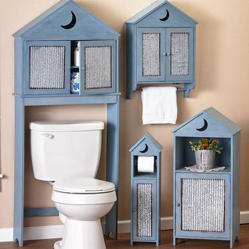 Outhouse Theme Bathroom Storage Accented Galvanized Corrugated Metal Space Saver