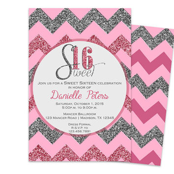 Trendy Pink Sweet 16 Invitation - Pink Silver Glitter Chevron Sweet Sixteen Invite - Sweet 16 Birthday Party Invitations - Unique Sweet 16