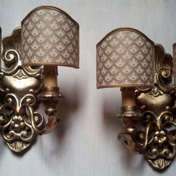 Pair of Antique Italian Carved Gilt Wood Wall Sconces with Ivory and Gold Fortuny Fabric Clip On Lamp Shades - Made in Italy