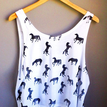 Horse pattern print crop top