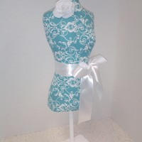 Turquoise Dress form designs jewelry display, 22 inch damask torso great for store front display, home decor, craft market