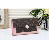 Louis Vuitton LV Women Leather Multicolor Buckle Wallet Purse Pink