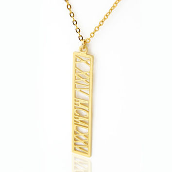 Roman numeral necklace Personalized Roman numeral Name Necklace Gold Fill 14K bar necklace