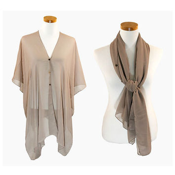 Taupe Multi-Way Sheer Cover Up Poncho Scarf with Buttons