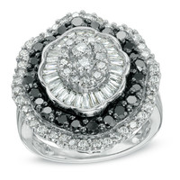 3 CT. T.W. Enhanced Black and White Diamond Layered Fashion Ring in 10K White Gold