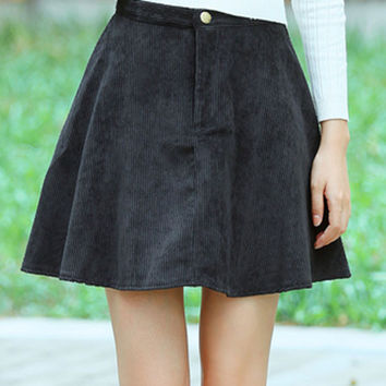 Black High Waist Stripe Texture A-Line Skirt